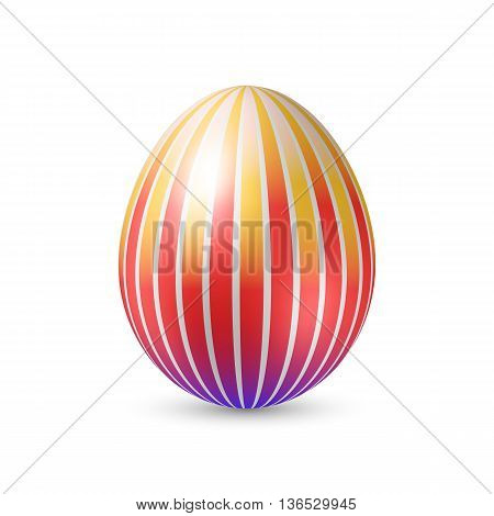 Easter Egg with Vertically Strips Texture. Illustration on White