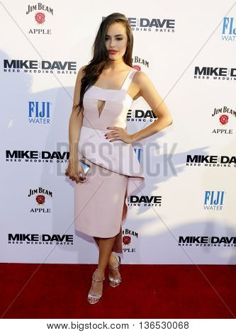 Chloe Bridges at the Los Angeles premiere of 'Mike And Dave Need Wedding Dates' held at the ArcLight Cinemas in Hollywood, USA on June 29, 2016.
