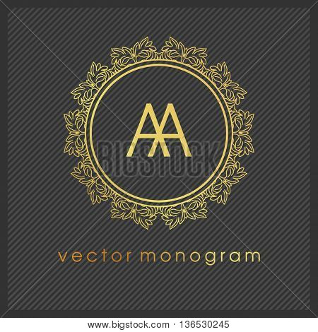 Luxury Monogram Logo. Golden colors on dark background. Design for Boutique, Restaurant, Royalty, Hotel, Cosmetics brand, VIP, Clubs. Vector Illustration.