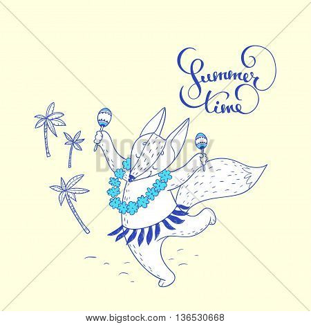 Summer time. hand drawn illustration with cute dancing fox