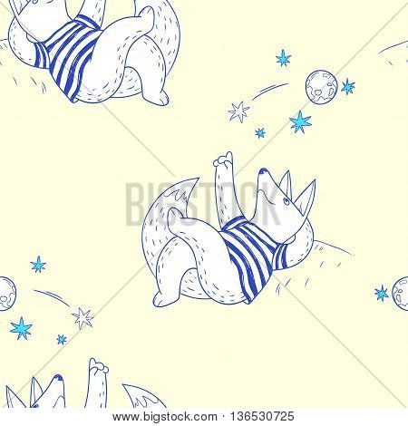 Summer time. hand drawn seamless pattern with cute fox watching a falling star