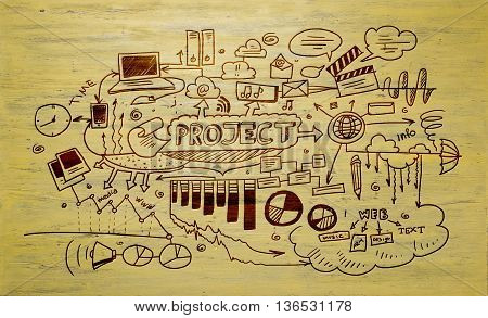 Effective business planning concept on yellow wooden background