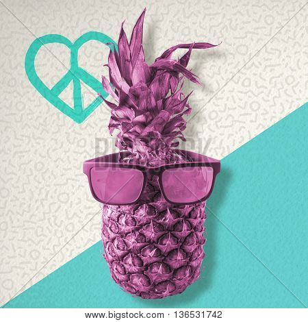 Color Retro Pineapple With Sunglasses For Summer