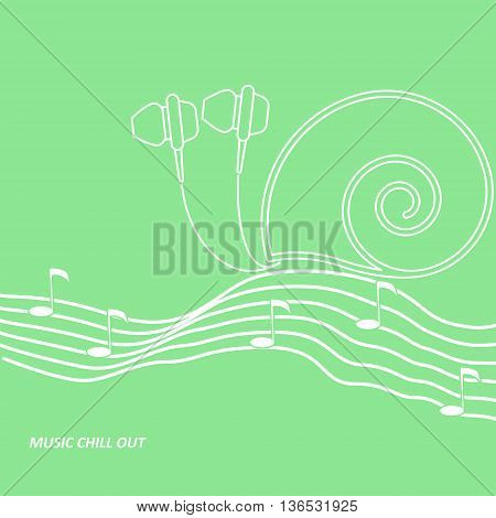 Vector headphone drawn looks like a snail creeping by the music notation staff with notes
