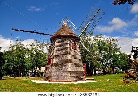 Eastham Massachusetts - July 14 2015: 1680 Eastham Windmill the oldest windmill on Cape Cod *