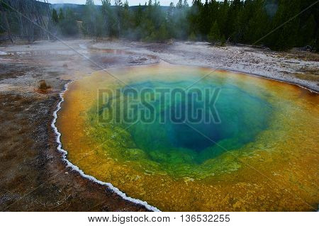Upper Geyser Basin, Morning Glory Pool, Yellowstone, Wyoming, USA