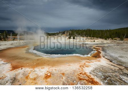 Upper Geyser Basin, Crested Pool, Yellowstone, Wyoming, USA