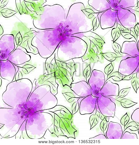 Vector Seamless Floral Hand-drawn Pattern. Flower pattern with violet flower on white background. Watercolor imitation and ink.