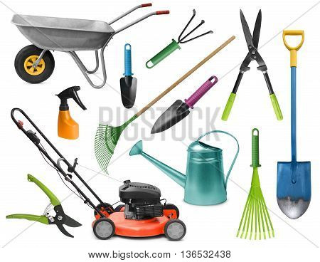 Essential realistic gardening tools colorful set isolated on white