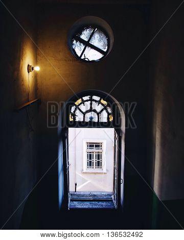 A window inside an old Odessa building