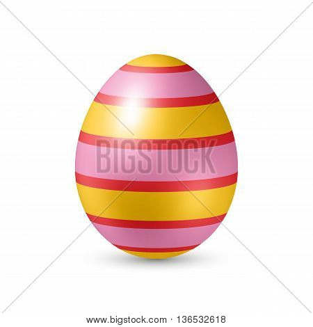 Easter Egg with Strips Texture - Standing Vertically on White Background