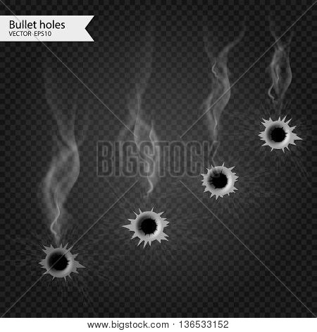 Bullet holes with smoke. Vector Isolated. Really transparent effect.