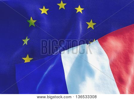 Flags of the France and the European Union. French Flag and EU Flag. 3D render