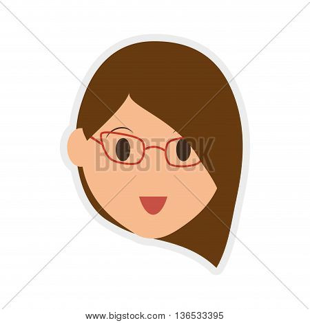 Person concept represented by woman head icon. Isolated and Flat illustration