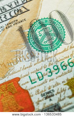Fragment of a hundred dollar bill closeup