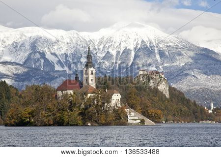 Scenery of lake Bled with Bled castle in Slovenia