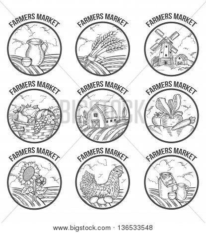 Farmers Market Badges. Retro Farm Vintage Set Vintage Engraved Sign Isolated On White Background. Sk