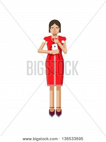 Stock vector illustration isolated of European woman with dark hair in red dress, high heels shoes, woman with smartphone in hand, woman looking into screen of phone in flat style on white background