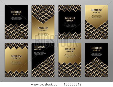 Set of cards, gold on the black. Business cards. Visiting cards. Invitations. Vector. Geometric pattern