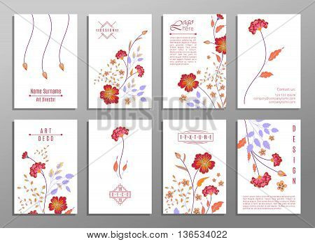 Collection of cute universal cards with flowers for your design. VIP backdrop orange flowers, for restaurant, saloon, gallery, spa. Valentine day, mother day luxury gift cards.
