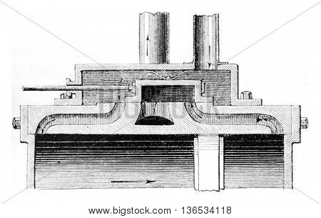Drawer first position, vintage engraved illustration. Magasin Pittoresque 1861.