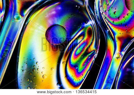 cross polarization with spoon ,polarized rainbow lights