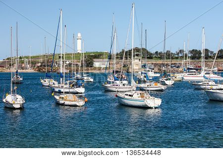 Wollongong Harbor, Australia, where many boats come for fishing  and relaxation