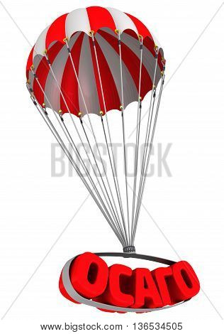 Abbreviation of automobile civil liability insurance (Russian language) is falling down on parachute. Isolated. 3D Illustration