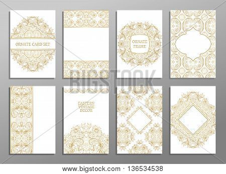 Set of flyer pages ornamental illustration stylized gold concept. Luxury art traditional, Islam, arabic, indian, ottoman motifs, elements. Vector decorative retro greeting card or invitation design.
