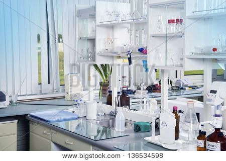 Clean modern white laboratory background. Laboratory concept.