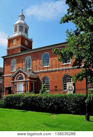 Baltimore Maryland - July 22 2013: The Old Otterbein Church built in 1785 is the oldest house of worship in continual use in the city