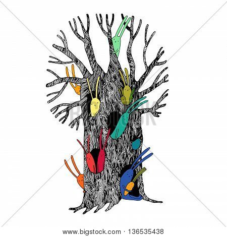Magic Tree and hares. Hand drawing isolated objects on white background. Vector illustration.