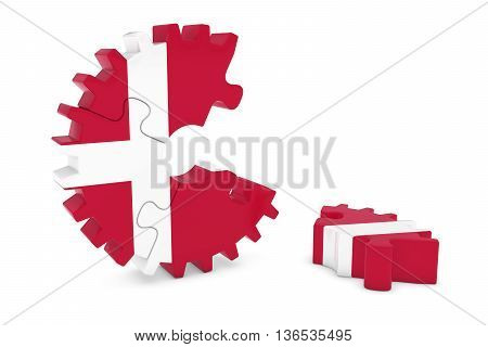 Danish Flag Gear Puzzle With Piece On Floor 3D Illustration