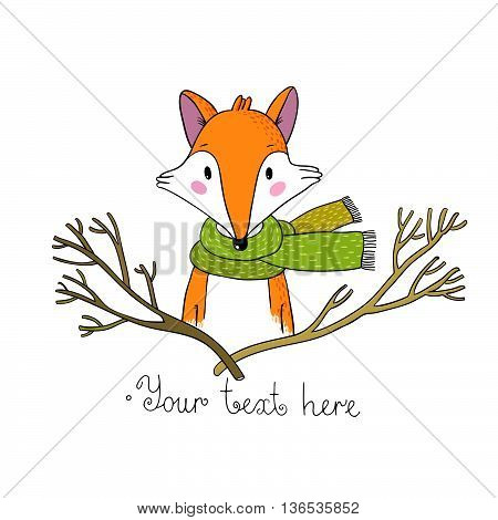 Portrait of a fox in a scarf and branches. Hand drawing isolated objects on white background. Vector illustration.