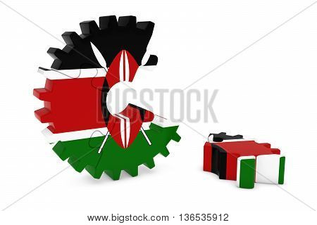 Kenyan Flag Gear Puzzle With Piece On Floor 3D Illustration
