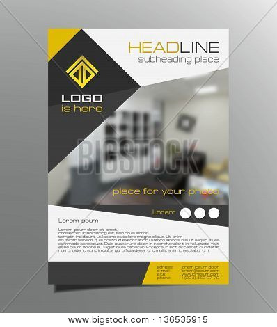 Grey, yellow brochure flyer design vector. Leaflet cover. Geometric layout A4 size.