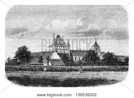 Le Chateau de Talcy, Loir et Cher, vintage engraved illustration. Magasin Pittoresque 1861.