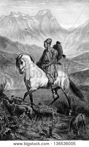 1861 Exhibition of Painting. A shepherd in Kabylia, vintage engraved illustration. Magasin Pittoresque 1861.