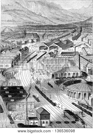 View in a straight line a first class train and accessories, vintage engraved illustration. Magasin Pittoresque 1861.