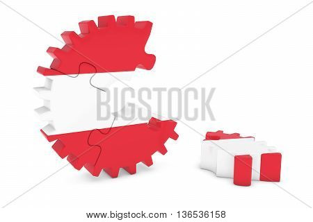 Austrian Flag Gear Puzzle With Piece On Floor 3D Illustration