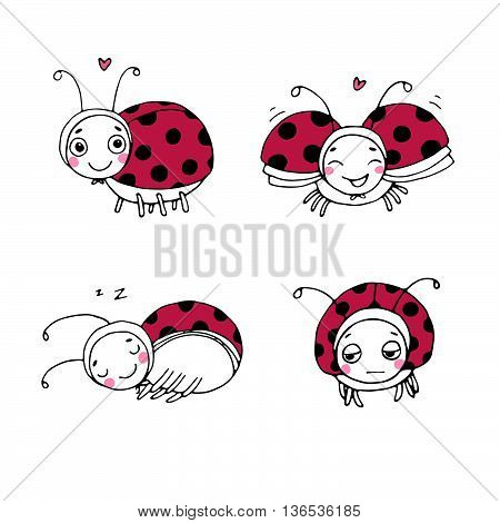Set of ladybugs. Hand drawing isolated objects on white background. Vector illustration.