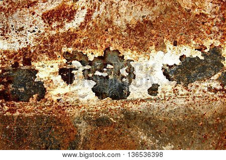 Rusty Sheet Metal Background. Rusty Metal Background With Rust Spots.