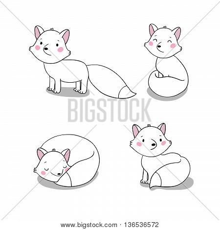 Set of cute little fox. Hand drawing isolated objects on white background. Vector illustration.