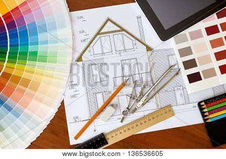 architectural facade drawing Two color palette guide pencils and ruler