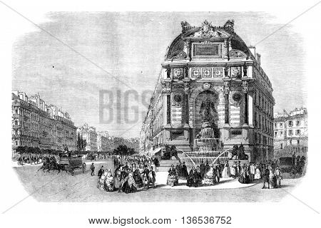 La Fontaine Saint Michel in Paris, vintage engraved illustration. Magasin Pittoresque 1861.