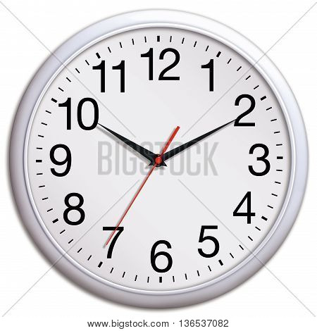 White wall clock shows ten past ten isolated on white background