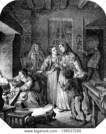 The Hospitality, vintage engraved illustration. Magasin Pittoresque 1861.