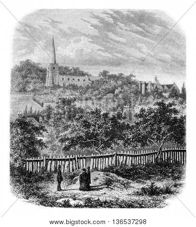 College of Harrow on the Hill, vintage engraved illustration. Magasin Pittoresque 1861.