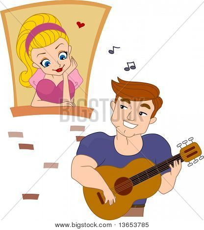 Illustration of a Pinup Guy Serenading a Girl