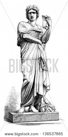 1861 Sculpture Show, Virgil statue by Thomas, vintage engraved illustration. Magasin Pittoresque 1861.